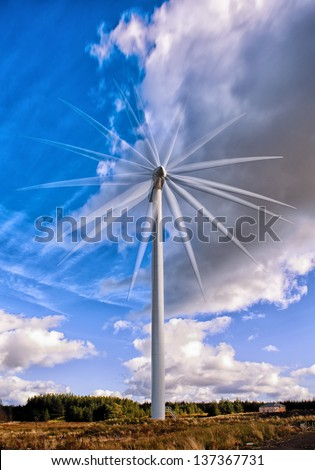 Multiple frame exposure of a wind turbine in Scotland