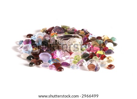 Multiple Gemstone WIth Various Facets on a White Background