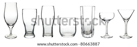 Multiple glass cup isolated on the white background