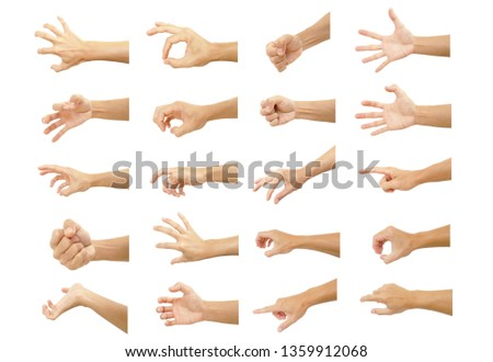multiple hand with gestures of asian man for symbol to show out isolated on white background #1359912068