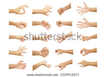 multiple hand with gestures of asian man for symbol to show out isolated on white background #1359912071