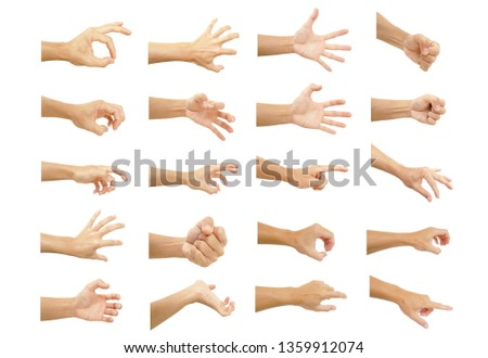 multiple hand with gestures of asian man for symbol to show out isolated on white background #1359912074