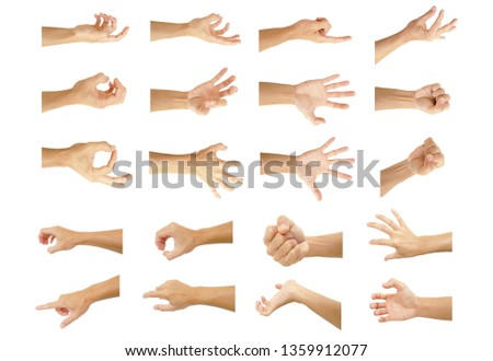 multiple hand with gestures of asian man for symbol to show out isolated on white background #1359912077