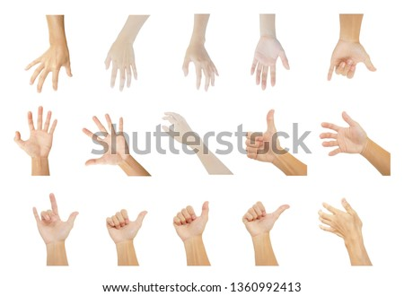 multiple hands collection of man and woman in gestures isolated on white background #1360992413