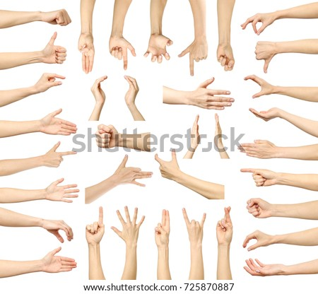 Multiple images set of female caucasian hand gestures isolated over white background