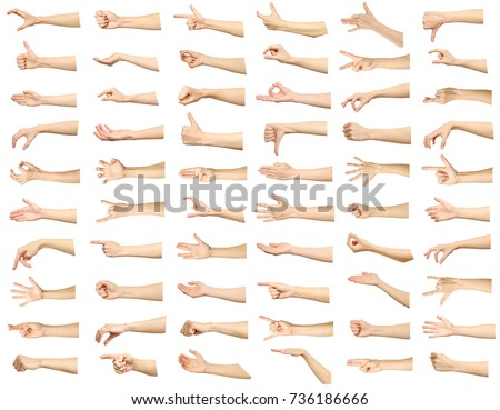 Multiple images set of female caucasian hand gestures isolated over white background #736186666