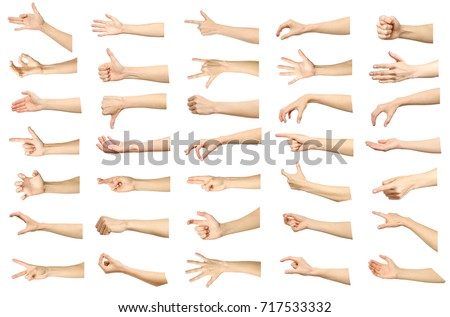 Multiple images set of female caucasian hand gestures isolated over white background. Part of series