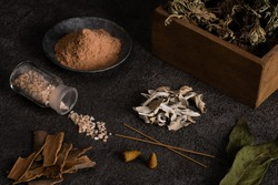 Multiple incenses and raw material, dried herbs.