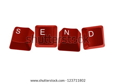 Multiple keyboard keys isolated and arranged to spell the word SEND on a white background. - stock photo
