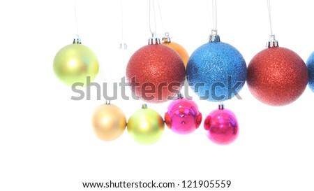 Multiple level hanging Christmas ball on white background.