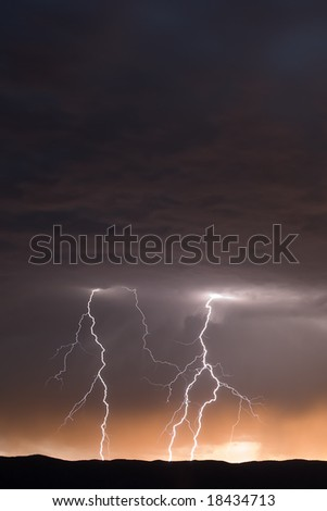 Multiple Lightning Strikes at Dusk