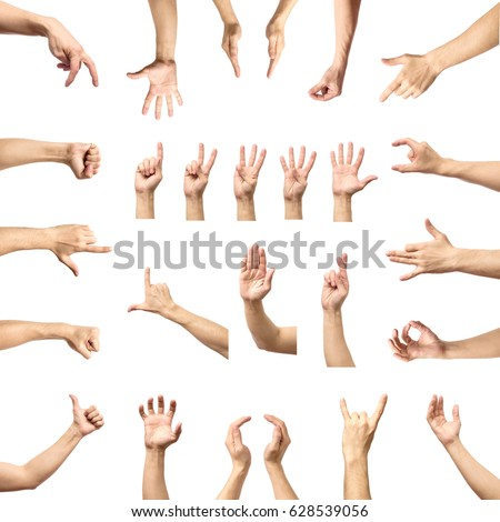 Multiple male caucasian hand gestures isolated over the white background, set of multiple images #628539056