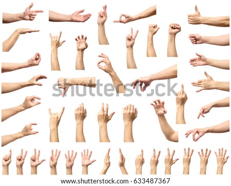 Multiple male caucasian hand gestures isolated over the white background, set of multiple images #633487367