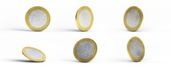 Multiple one euro coins on a white background with shadow. 3D render.