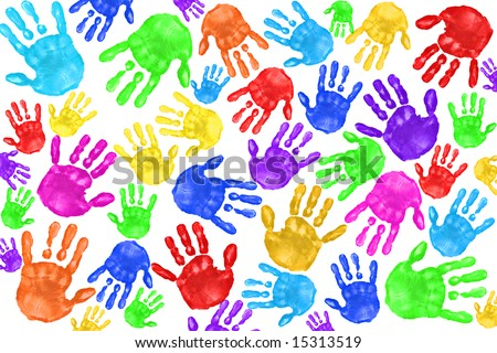 ... Painted Handprints of School Age Preschool Children - stock photo