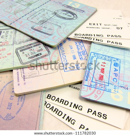 Multiple passports, multiple passport stamps, and airline boarding passes