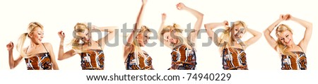 Multiple photos of a happy young blonde dancing (banner)