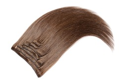 multiple pieces clip in straight auburn brown human hair extensions