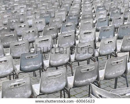 multiple plastic chairs in rows. Multiple plastic chairs in rows. St Peter's square. Vatican. More of this motif & more backgrounds in my port.