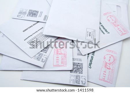 Multiple pre-sorted first-class US mail envelopes