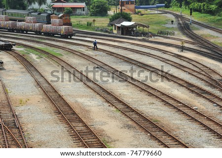 Multiple Railway Tracks At A Train Station