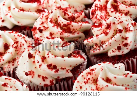 Multiple Red Velvet Cupcakes Close Together