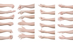 Multiple set of man hands gestures isolated on white background. with clipping path.