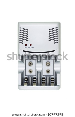 Multiple sizes battery charger on white background