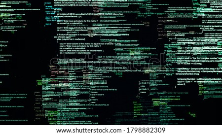 Multiple source codes in matrix cyberspace. Animation. Changing and overlapping software source codes on black background. Matrix encoding language. Programming concept Stock foto ©