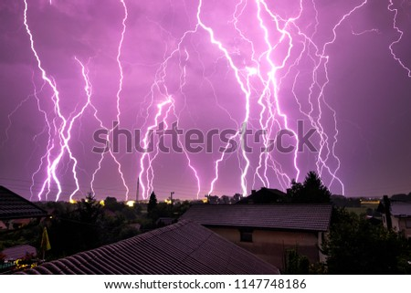 Multiple thunderstorm lightning strikes.