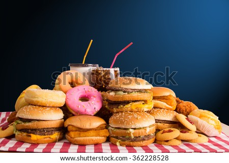 Shutterstock Multiple type of Fast food on table.