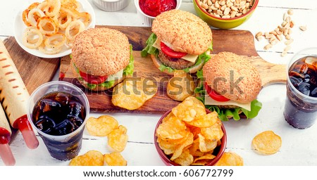 Multiple type of Fast food.  Unhealthy food concept. View from above