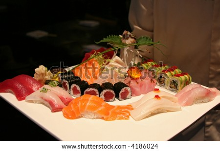 Multiple Types Of Sushi And Sashimi, Beautiful ...