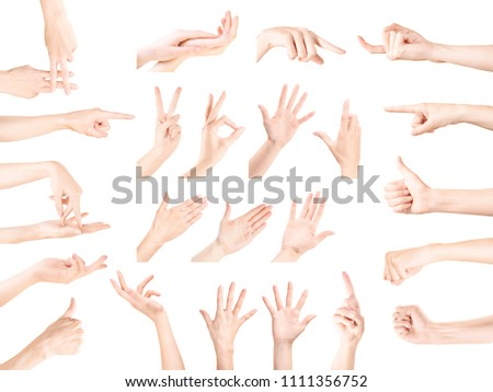 Multiple woman hand gestures collection. Isolated on white, clipping path included #1111356752