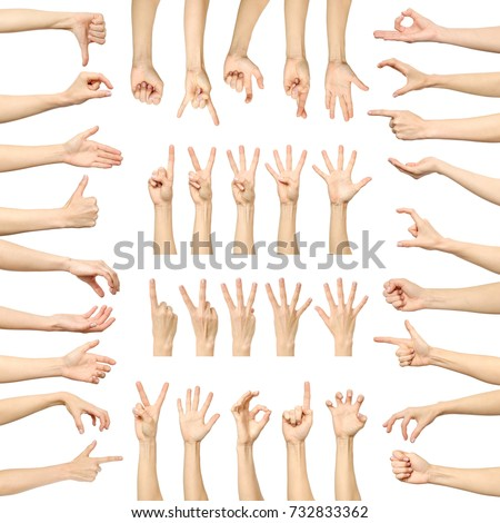 Multiple woman's hand gestures isolated on white. Big set of multiple images #732833362