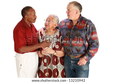 Multiracial friends on pure white background