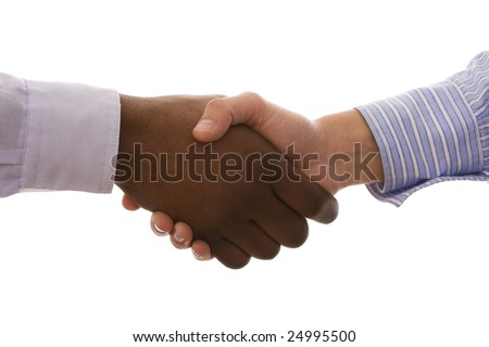 multiracial handshake from an african and a caucasian mens hand (isolated on white) - stock photo