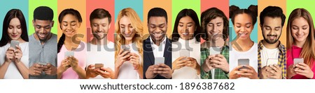 Multiracial Millennial People Using Phones Texting And Browsing Internet Over Different Colored Backgrounds. Collage Of Headshots With Men And Women Using Smartphones. Cellphones Users Crowd