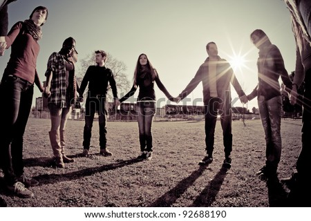 Multiracial Young People Holding Hands in a Circle #92688190