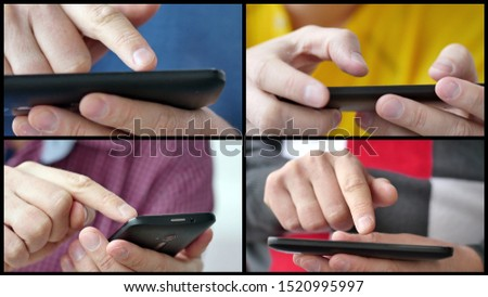Multiscreen collage of different people hands texting or typing SMS on smartphones. They using cell phones and smart phones. Technology and communication concept.