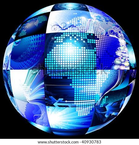 multiscreen sphere on black