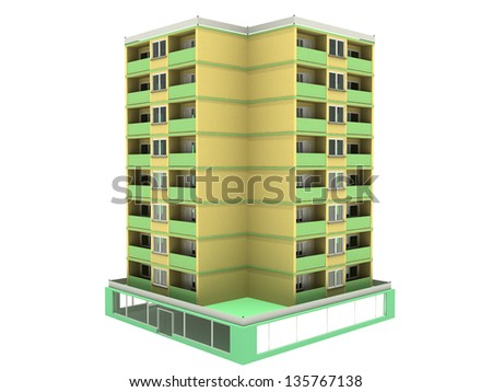 Multistorey house on a white background 3