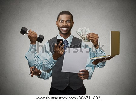 Multitasking happy business man isolated on grey wall background. Busy life of company manager corporate executive. Many errands concept