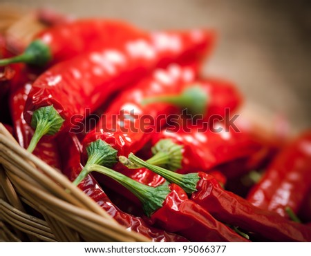 multitude of red chili peppers, closeup view