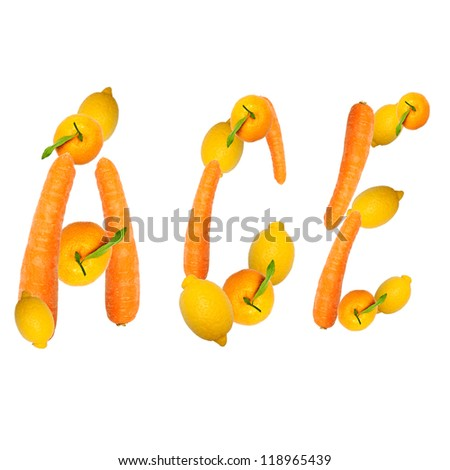 multivitamin ace letter of three fruits