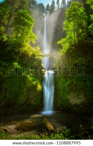 Multnomah Falls along Columbia River Gorge, Portland, Oregon, US #1108887995