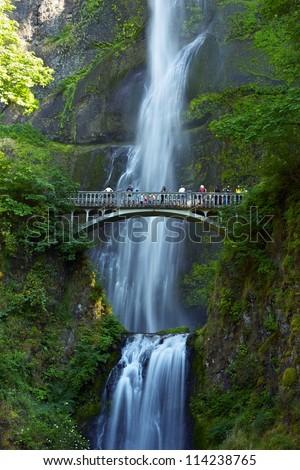 Multnomah Falls Oregon - Oregon Waterfalls Photography Collection. Famous Multnomah Falls in Vertical Photography.