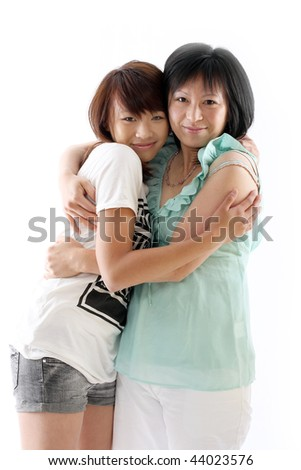 mum and daughter having fun, isolated on white background