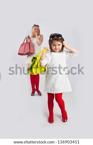 mum and girl make shopping #136903451