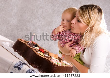 Mum And Her Doughter With Cake